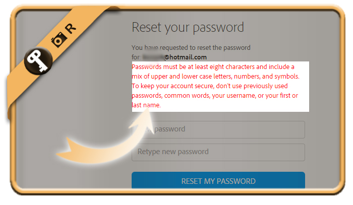 adobe password requirements